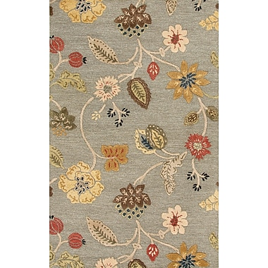 Jaipur Hand-Tufted Floral Pattern Area Rug Wool & Art Silk 5' x 8', Sea Blue