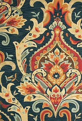 Jaipur Brocade Rectangle Rug Polyester, 3' x 2', Navy