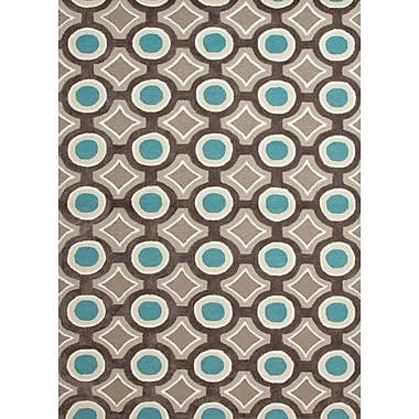 Jaipur Hand-Tufted Geometric Rectangle Rug Polyester 2' x 3', Deep Charcoal & Aegean Blue