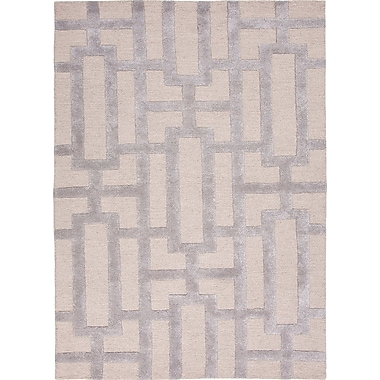 Jaipur City Silver Gray Geometric Area Rug Wool & Art Silk, 2' x 3'