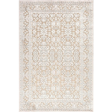Jaipur Fables Taupe & Ivory Oriental Area Rug Art Silk & Chenille, 5' x 7.6'