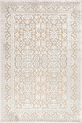 Jaipur Fables Taupe & Ivory Oriental Area Rug Art Silk & Chenille, 7.5' x 5'