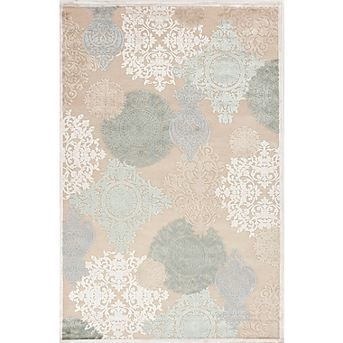 Jaipur Floral Pattern Area Rug Art Silk & Chenille, 5' x 7.6'