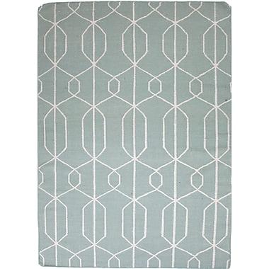 Jaipur Flat-Weave Geometric Aarya Rectangle Area Rug Wool, 8' x 10', Light Turquoise