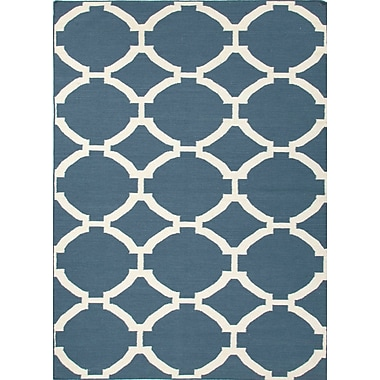 Jaipur Area Rug in Dark Denim Wool, 5' x 8'