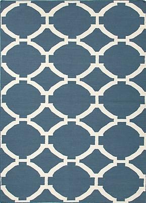 Jaipur Area Rug in Dark Denim Wool, 8' x 5'
