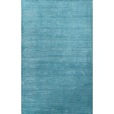 Jaipur Handloom Solid Pattern Area Rug Wool & Art Silk 5' x 8', Deep Turquoise