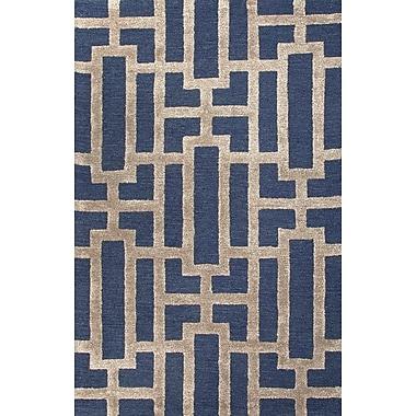 Jaipur Hand Tufted Geometric Pattern Area Rug Wool & Art Silk, 3.6' x 5.6'