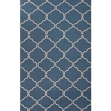 Jaipur Flat-Weave Moroccan Pattern Area Rug Wool 2' x 3', Dark Denim & Antique White