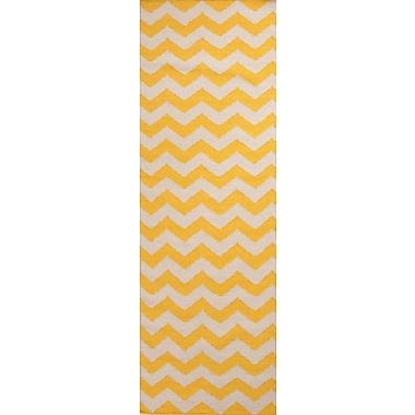 Jaipur Yellow Area Rug Wool, 2.6' x 8'