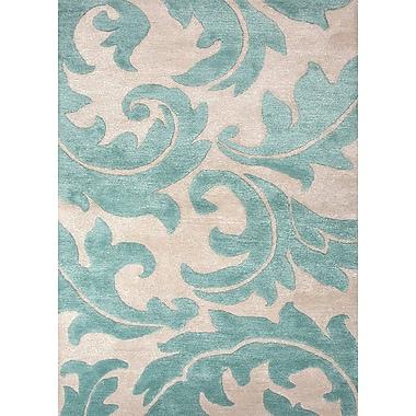 Jaipur Hand-Tufted Area Rug Wool & Art Silk 8' x 10', Antique White & Light Turquoise