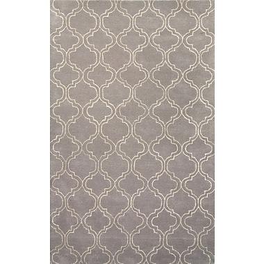 Jaipur Baroque Gray & Ivory Geometric Area Rug Wool & Art Silk, 5' x 8'