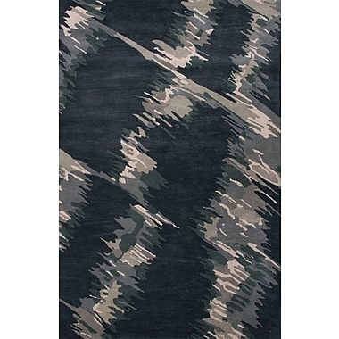 Jaipur Hand-Tufted Abstract Pattern Wool Blue Area Rug 100% Wool 5' x 8', Indigo & Antique White