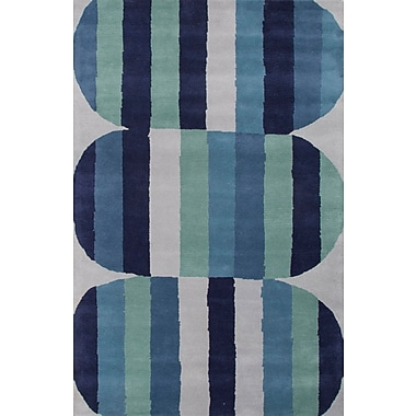 Jaipur En Casa Blue & Green Geometric Area Rug Wool, 5' x 8'