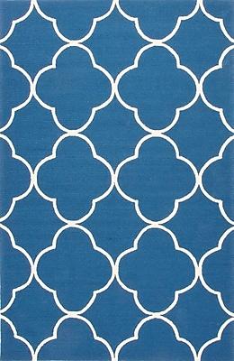 Jaipur Geometric Polypropylene, 5' x 7.6' Blue & White