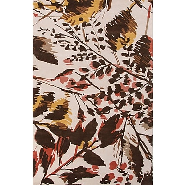 Jaipur Hand-Tufted Floral Pattern Area Rug 100% Wool 5' x 8', Antique White & Deep Blue