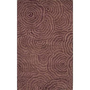 Jaipur Floral Area Rug Wool 5' x 8', Pale Aubergine & Tulip Purple