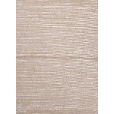 Jaipur Handmade Solid Pattern Wool & Art Silk 10' x 14', Medium Tan