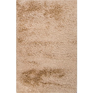 Jaipur Solid Pattern Rug 100% Polyester 2' x 3', Light sand & Dark Ivory