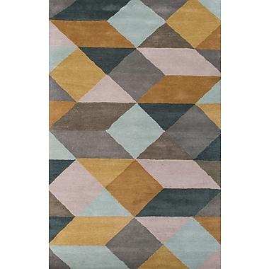 Jaipur En Casa Tufted Geometric Area Rug Wool 2' x 3', Sea Mist Green & Classic Gray