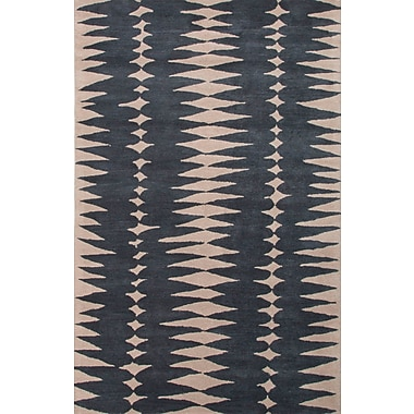 Jaipur Geometric Area Rug Wool 2' x 3', Deep Blue & Dark Ivory