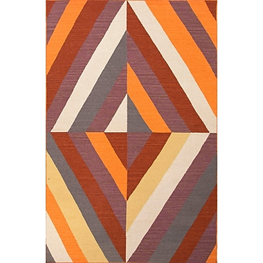 Jaipur Geometric Pattern Wool Area Rug Wool, 8' x 11' Red Oxide & Light Gold