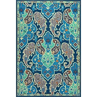 Jaipur Floral Pattern Hoja Rectangle Rug Polypropylene 2' x 3', Blue
