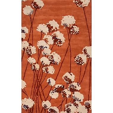 Jaipur Floral Area Rug Wool 2' x 3', Red Orange