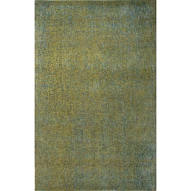 Jaipur Area Rug Wool & Art Silk 5' x 8', Dark Lime & Caribbean Sea