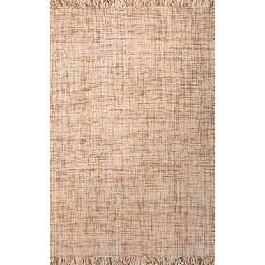 Jaipur Flat-Weave Solid Pattern Area Rug Wool 2' x 3', Dark Ivory & Light Camel