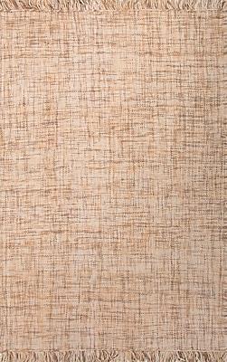Jaipur Flat-Weave Solid Pattern Area Rug Wool 2' x 3', Dark Ivory & Light Camel