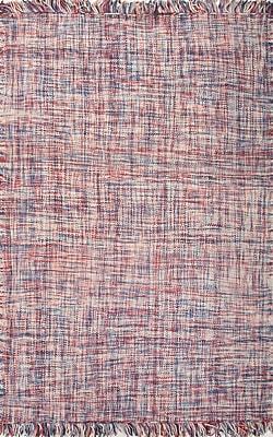 Jaipur Tweedy Area Rug Wool 3.6'x5.6' , Denim Blue & Brick Red