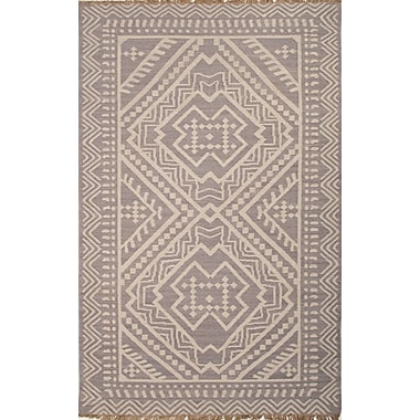 Jaipur Batik Tribal Gray & Ivory Area Rug Wool, 2' x 3'
