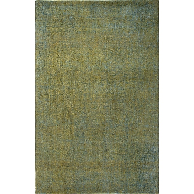 Jaipur Area Rug Wool & Art Silk 2' x 3', Dark Lime & Caribbean Sea