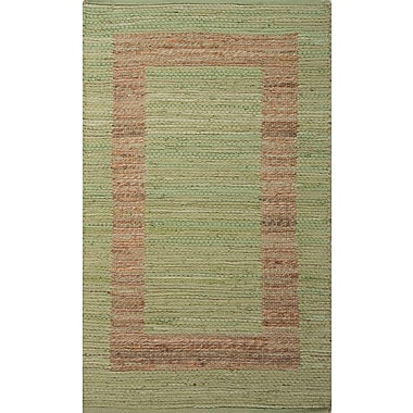 Jaipur Naturals Area Rug Jute & cotton, Green Stripe & Natural