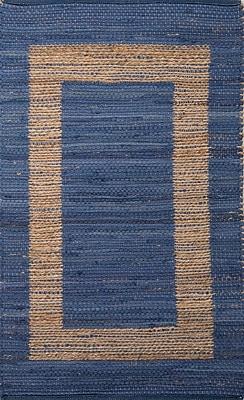 Jaipur Naturals Area Rug Jute & cotton, Blue Stripe & Natural