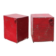 A&B Home 2 Piece Metal Stool Set; Red