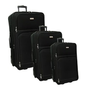 "McBRINE Promotional 3-Piece Expandable Luggage Set Consisting of 28"",25"",20"" on In-Line Wheels, Black"