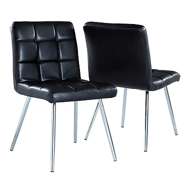Monarch Leather-Look/Chrome Metal Dining Chairs, 32