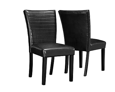 Monarch Specialties Inc. I 1975 Leather Look Parson Chair, Black