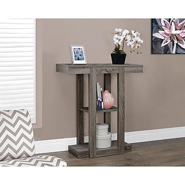 Monarch – Table console d'appoint de style vieux bois, 32 po long., taupe foncé