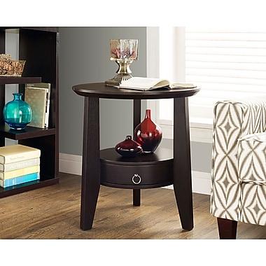 Monarch – Table d'appoint avec 1 tiroir, diamètre de 23 po, cappuccino