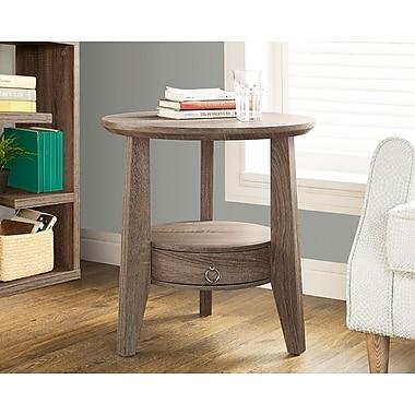 Monarch – Table d'appoint avec 1 tiroir, style vieilli, diamètre de 23 po, taupe foncé