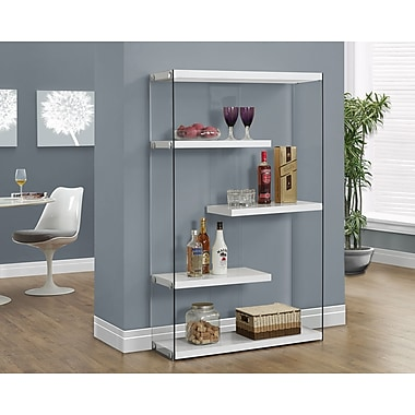 Monarch Hollow-Core/Tempered Glass Bookcase 60