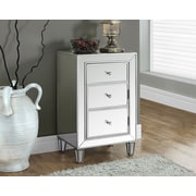 "Monarch Side/Accent Table 29""H, Brushed Silver/Mirrored"