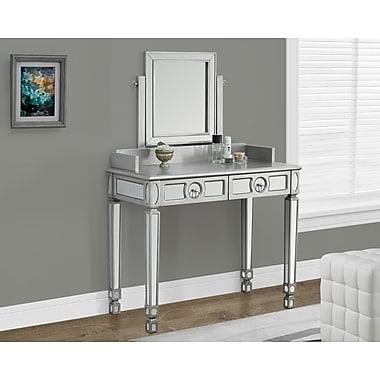 Monarch – Table d'appoint de 36 po long. avec 2 tiroirs, argent brossé/miroir