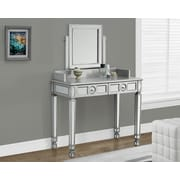 """Monarch 36""""L Vanity with 2 Drawers, Brushed Silver/Mirrored"""