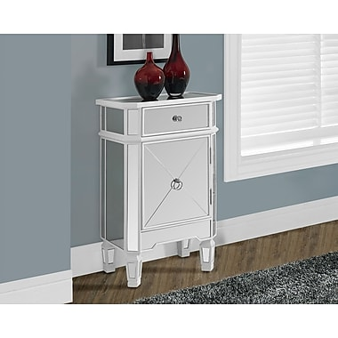 Monarch 1 Drawer Accent Cabinet, Satin White/Mirrored
