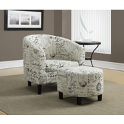 Monarch Vintage French Fabric Accent Chair and Ottoman