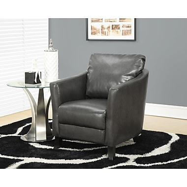 Monarch Leather-Look Accent Chair, Charcoal Grey